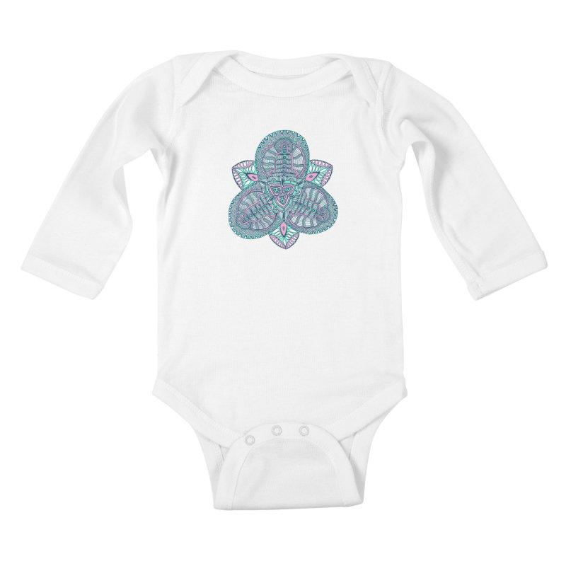 Trikvetr-mandala pink-mint version Kids Baby Longsleeve Bodysuit by ShadoBado Artist Shop