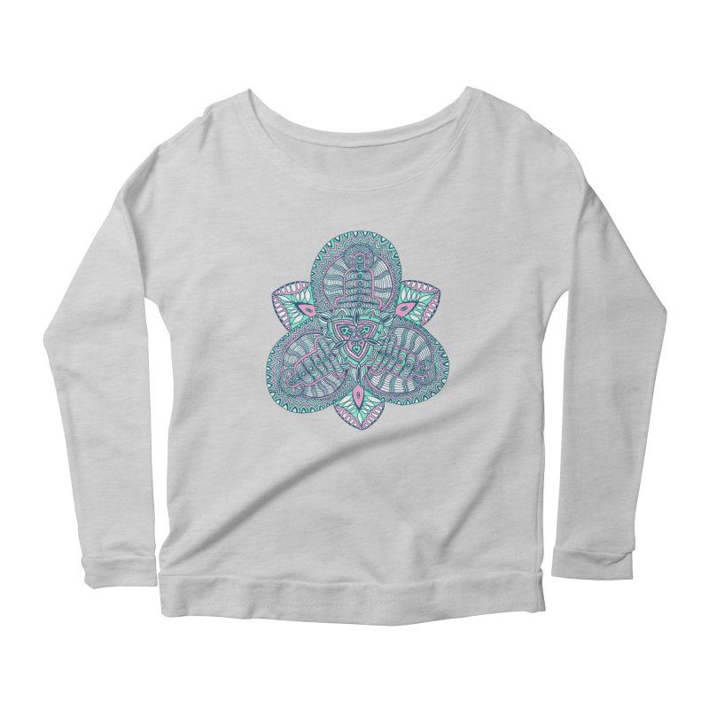 Trikvetr-mandala pink-mint version Women's Scoop Neck Longsleeve T-Shirt by ShadoBado Artist Shop