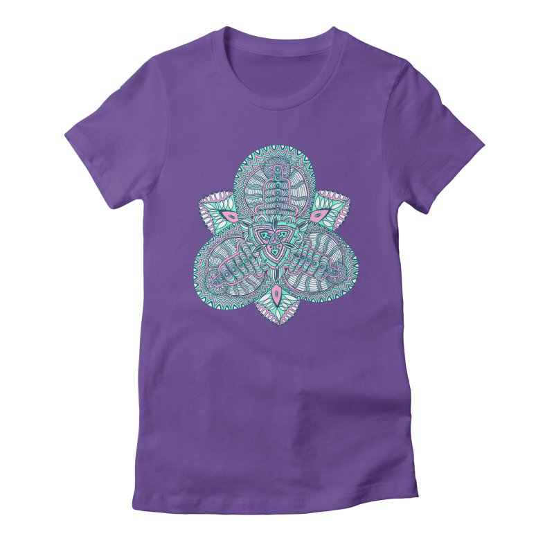 Trikvetr-mandala pink-mint version Women's Fitted T-Shirt by ShadoBado Artist Shop