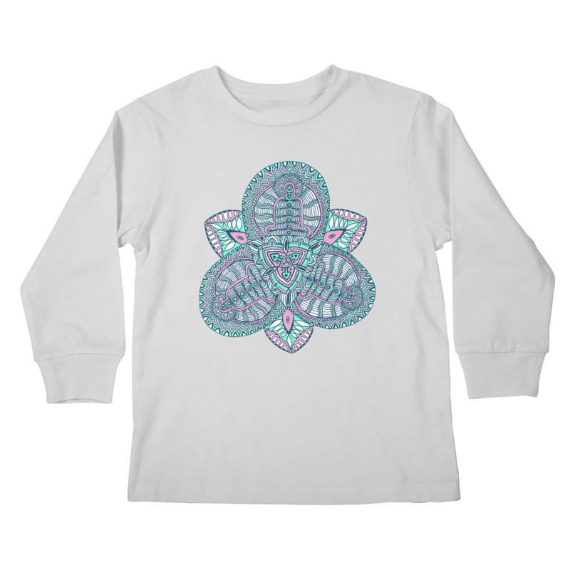 Trikvetr-mandala pink-mint version Kids Longsleeve T-Shirt by ShadoBado Artist Shop