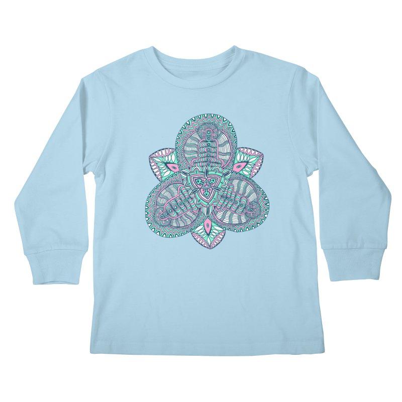 Trikvetr-mandala pink-mint version Kids Longsleeve T-Shirt by ShadoBado Artist Shop