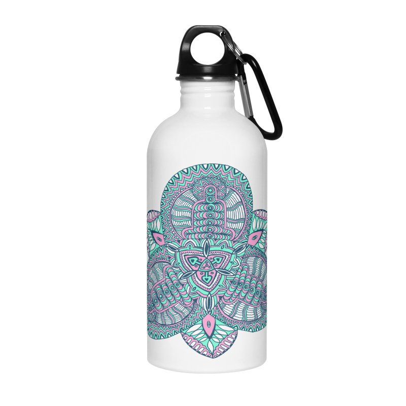 Trikvetr-mandala pink-mint version Accessories Water Bottle by ShadoBado Artist Shop