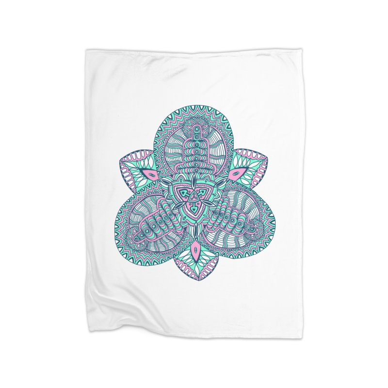 Trikvetr-mandala pink-mint version Home Fleece Blanket Blanket by ShadoBado Artist Shop