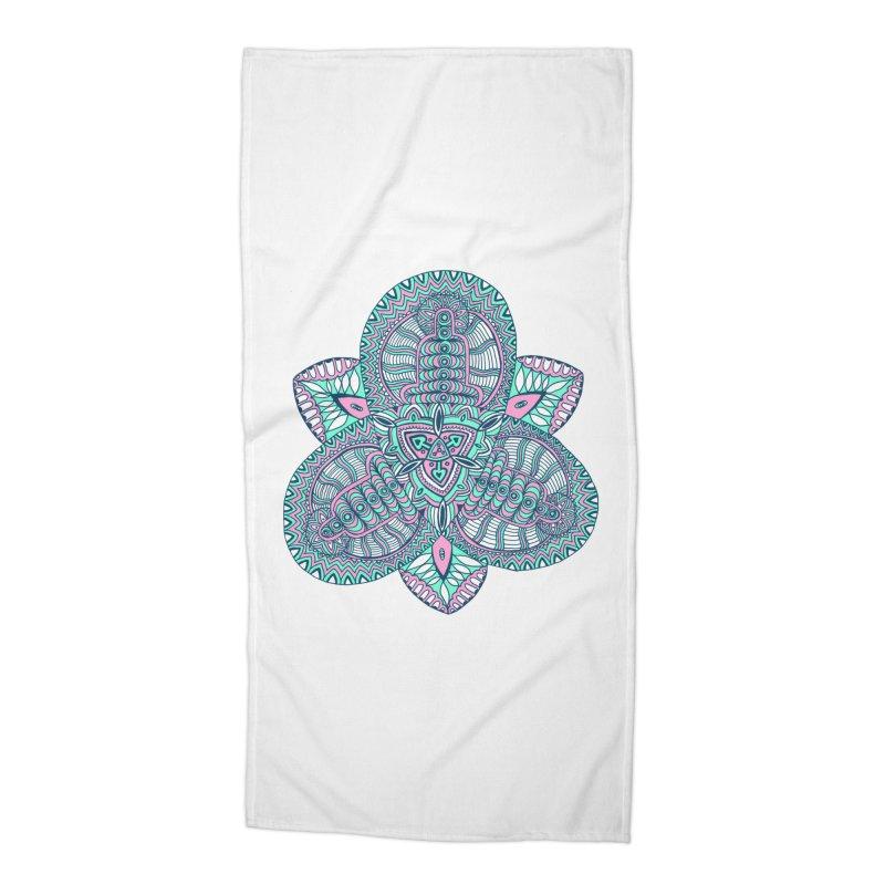 Trikvetr-mandala pink-mint version Accessories Beach Towel by ShadoBado Artist Shop