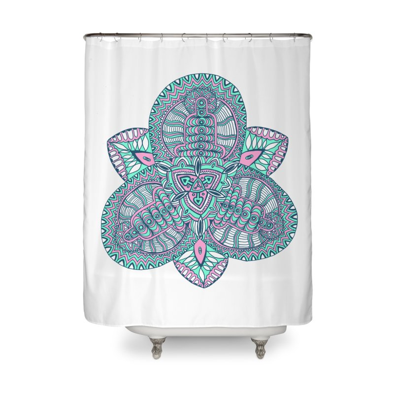 Trikvetr-mandala pink-mint version Home Shower Curtain by ShadoBado Artist Shop