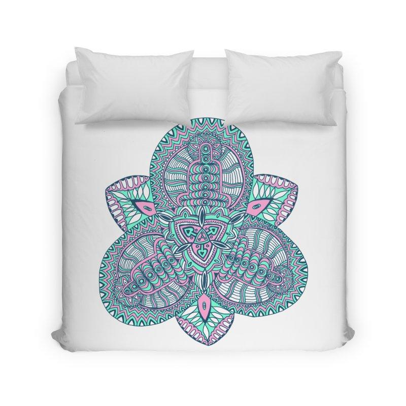 Trikvetr-mandala pink-mint version Home Duvet by ShadoBado Artist Shop