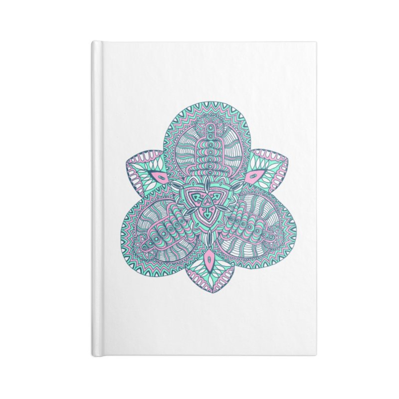 Trikvetr-mandala pink-mint version Accessories Lined Journal Notebook by ShadoBado Artist Shop