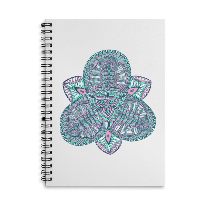 Trikvetr-mandala pink-mint version Accessories Lined Spiral Notebook by ShadoBado Artist Shop
