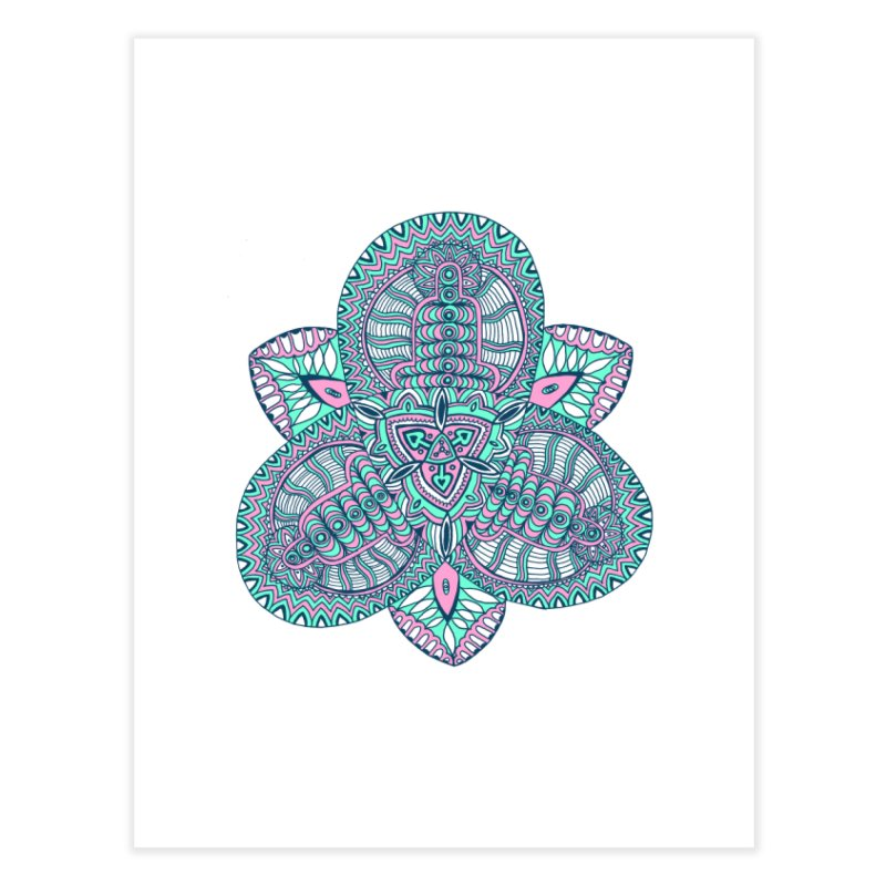 Trikvetr-mandala pink-mint version Home Fine Art Print by ShadoBado Artist Shop