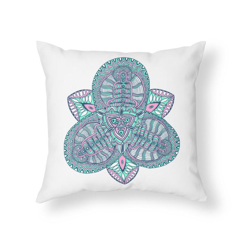 Trikvetr-mandala pink-mint version Home Throw Pillow by ShadoBado Artist Shop