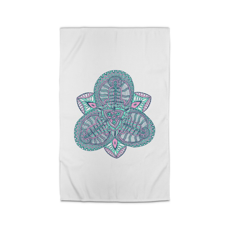 Trikvetr-mandala pink-mint version Home Rug by ShadoBado Artist Shop