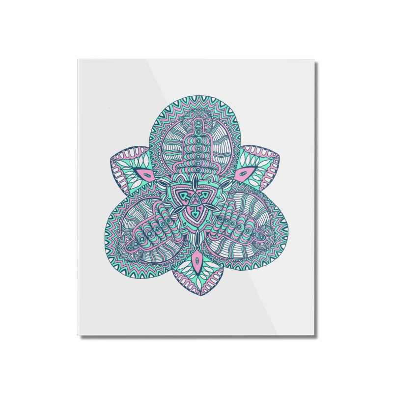 Trikvetr-mandala pink-mint version Home Mounted Acrylic Print by ShadoBado Artist Shop