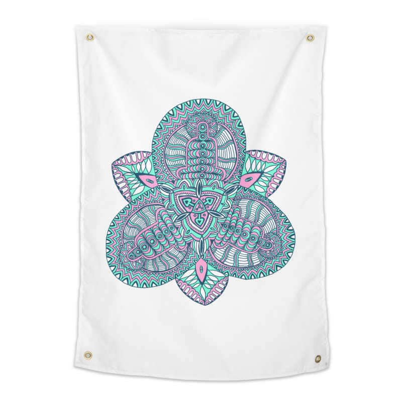 Trikvetr-mandala pink-mint version Home Tapestry by ShadoBado Artist Shop