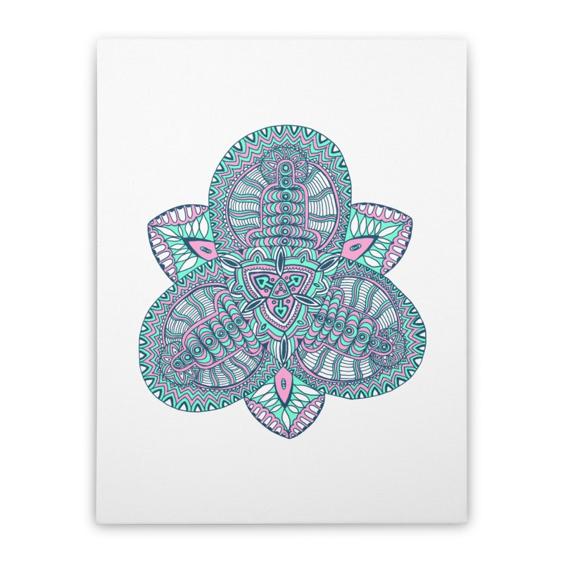 Trikvetr-mandala pink-mint version Home Stretched Canvas by ShadoBado Artist Shop