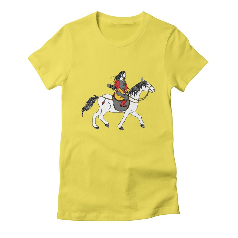 The rider Women's Fitted T-Shirt by ShadoBado Artist Shop