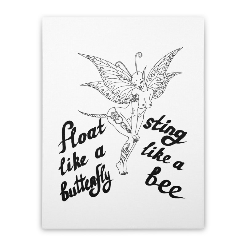 Float like a butterfly, sting like a bee Home Stretched Canvas by ShadoBado Artist Shop