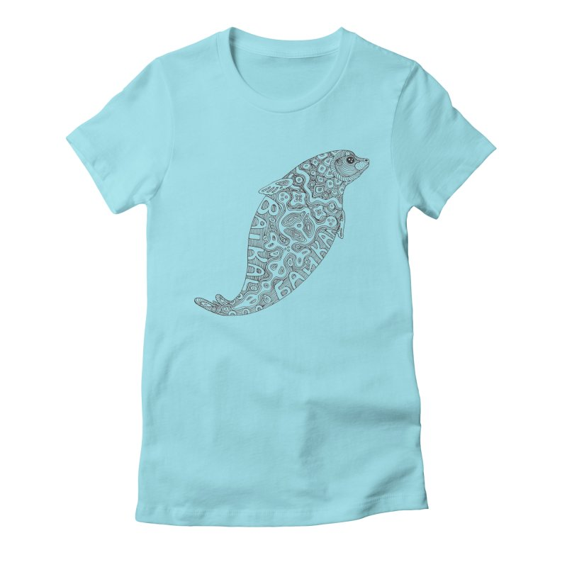 Coloring nerpa Women's Fitted T-Shirt by ShadoBado Artist Shop