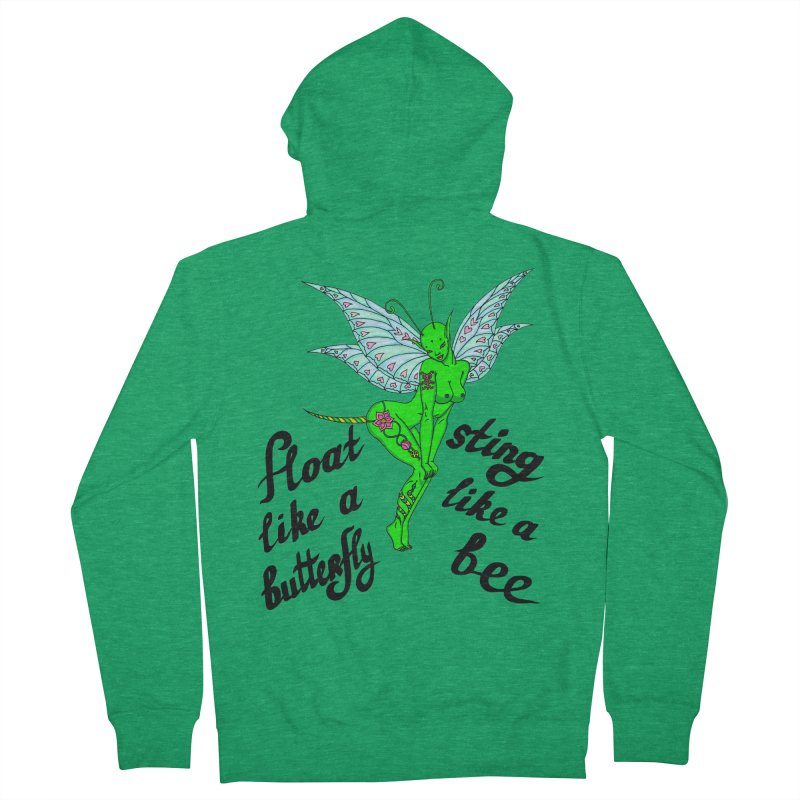 Float like a butterfly, sting like a bee Women's French Terry Zip-Up Hoody by ShadoBado Artist Shop