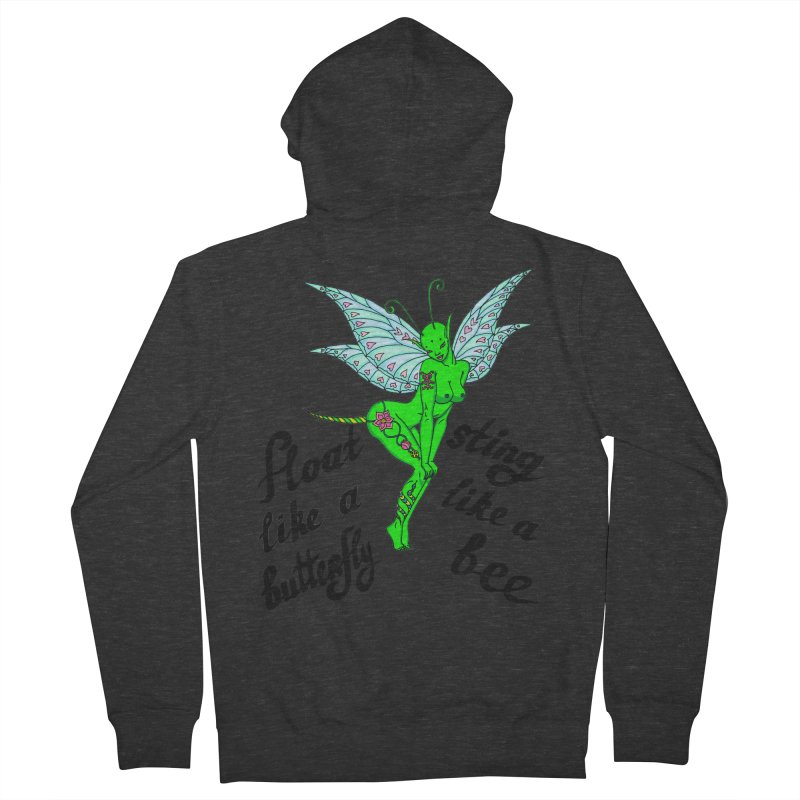 Float like a butterfly, sting like a bee Men's French Terry Zip-Up Hoody by ShadoBado Artist Shop