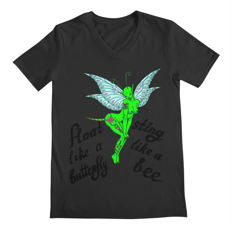 Float like a butterfly, sting like a bee Men's Regular V-Neck by ShadoBado Artist Shop