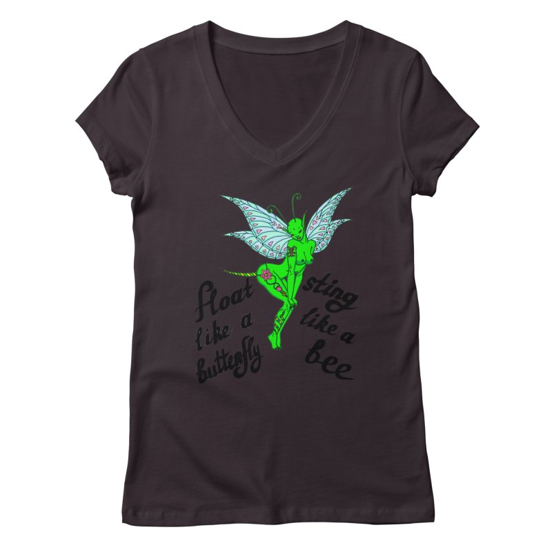 Float like a butterfly, sting like a bee Women's Regular V-Neck by ShadoBado Artist Shop
