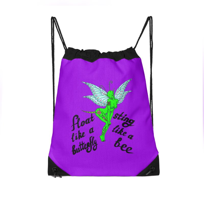 Float like a butterfly, sting like a bee Accessories Drawstring Bag Bag by ShadoBado Artist Shop