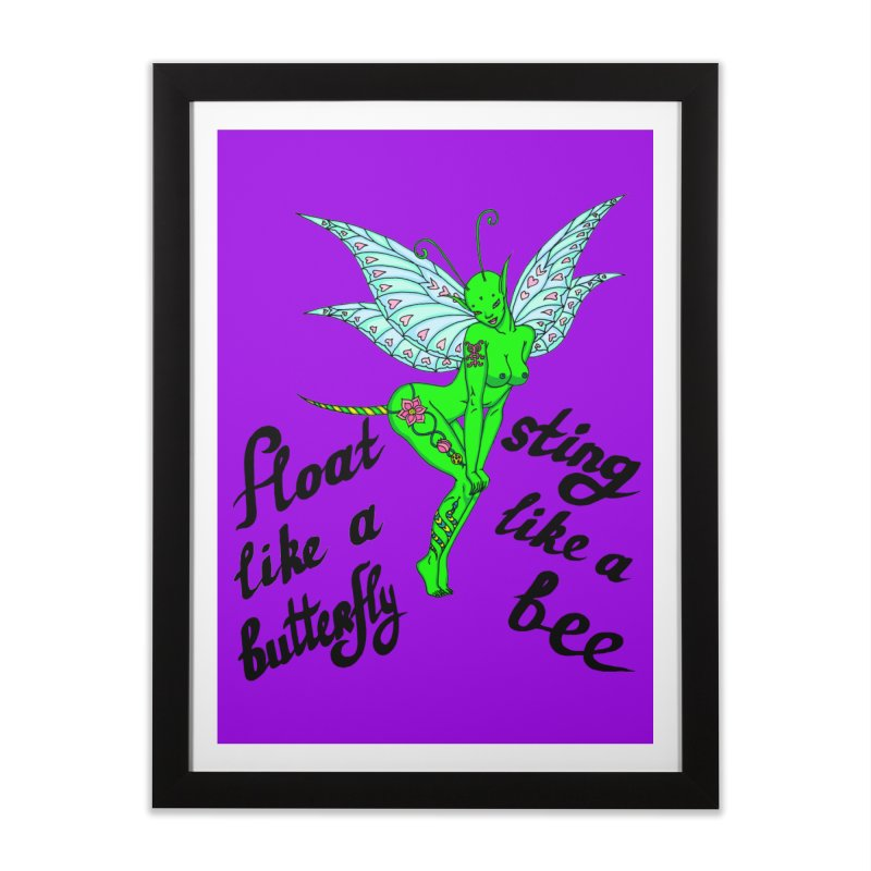 Float like a butterfly, sting like a bee Home Framed Fine Art Print by ShadoBado Artist Shop