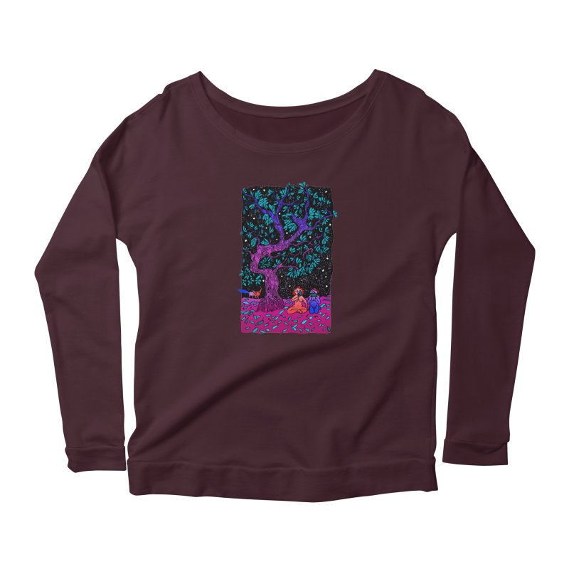Avocado tree in crazy colours Women's Scoop Neck Longsleeve T-Shirt by ShadoBado Artist Shop