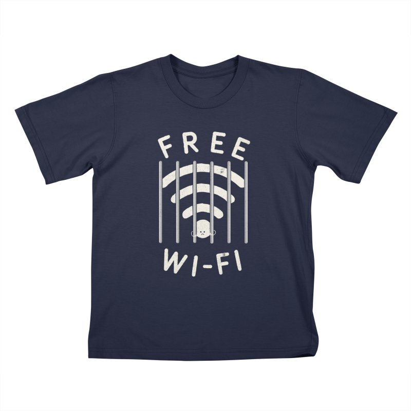 Free Wi-Fi in Kids T-Shirt Navy by shadyjibes's Shop