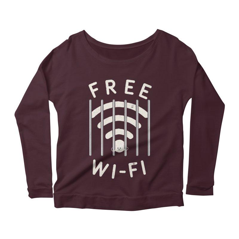 Free Wi-Fi Women's Longsleeve Scoopneck  by shadyjibes's Shop