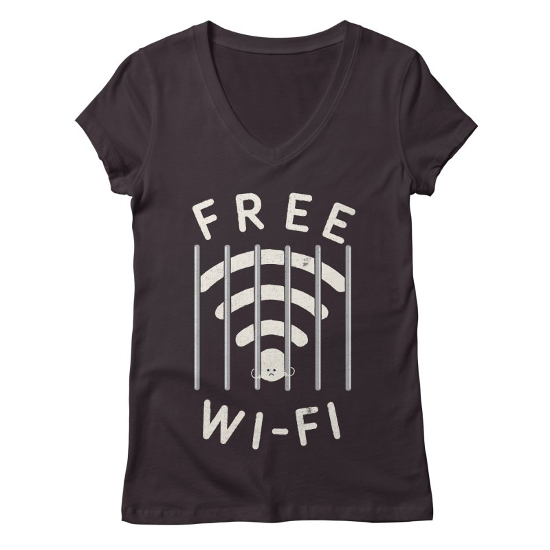 Free Wi-Fi in Women's V-Neck Plum by shadyjibes's Shop