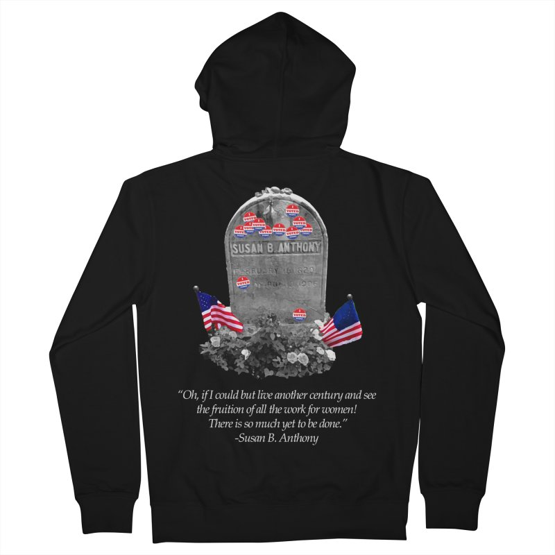 "Memorial to the 19th Amendment: Susan B. Anthony Headstone with ""I Voted"" Stickers Men's Zip-Up Hoody by shaggylocks's Shop"