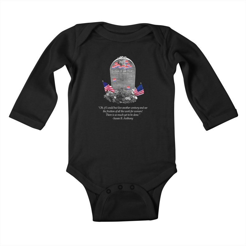 "Memorial to the 19th Amendment: Susan B. Anthony Headstone with ""I Voted"" Stickers Kids Baby Longsleeve Bodysuit by shaggylocks's Shop"