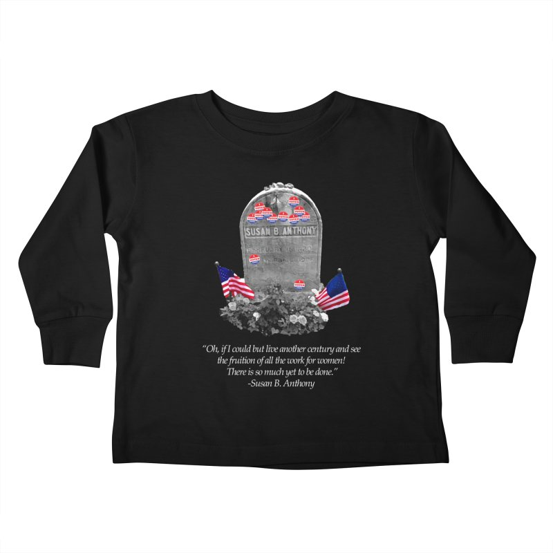 """Memorial to the 19th Amendment: Susan B. Anthony Headstone with """"I Voted"""" Stickers Kids Toddler Longsleeve T-Shirt by shaggylocks's Shop"""