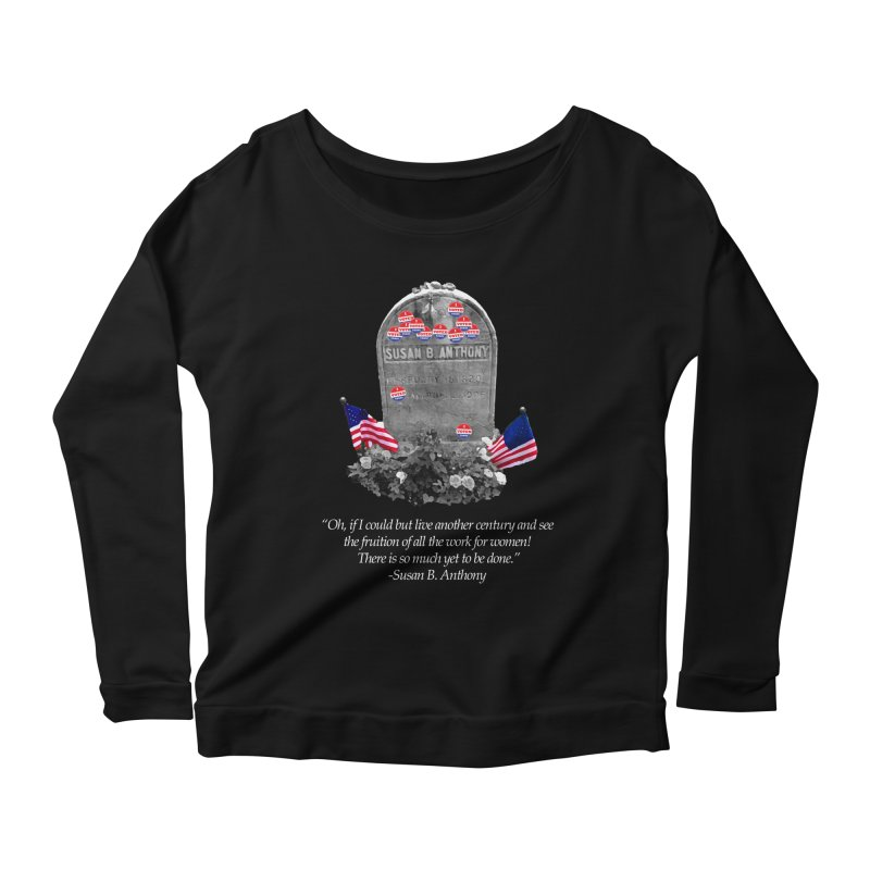 """Memorial to the 19th Amendment: Susan B. Anthony Headstone with """"I Voted"""" Stickers Women's Longsleeve T-Shirt by shaggylocks's Shop"""