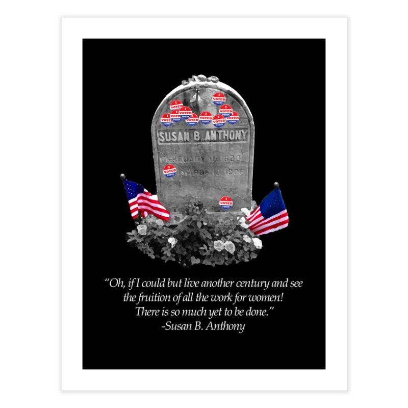 """Memorial to the 19th Amendment: Susan B. Anthony Headstone with """"I Voted"""" Stickers Home Fine Art Print by shaggylocks's Shop"""