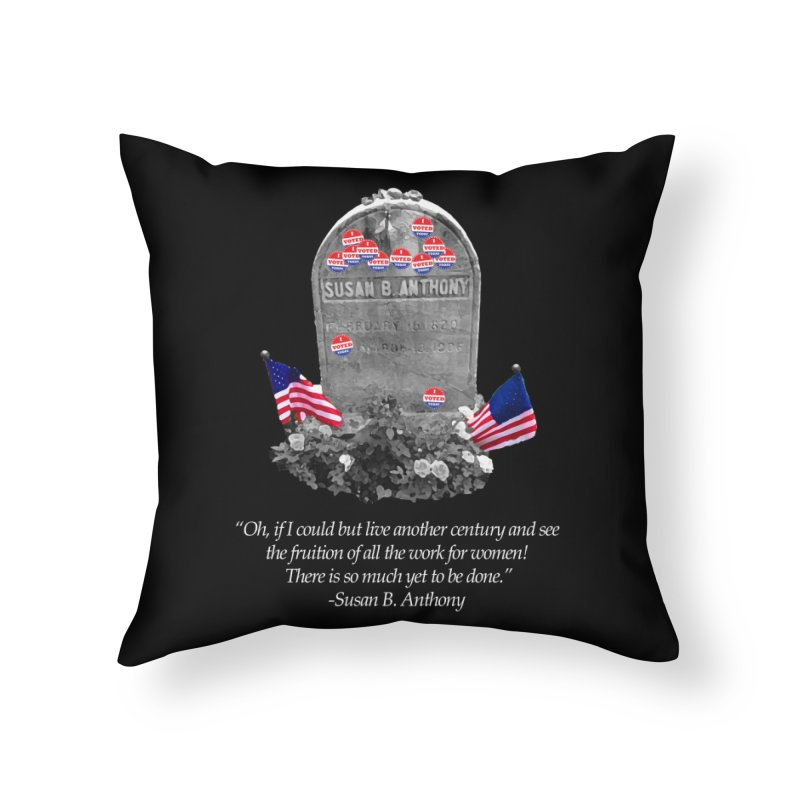 """Memorial to the 19th Amendment: Susan B. Anthony Headstone with """"I Voted"""" Stickers Home Throw Pillow by shaggylocks's Shop"""
