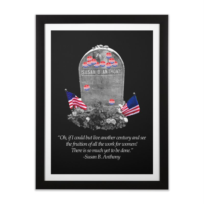"Memorial to the 19th Amendment: Susan B. Anthony Headstone with ""I Voted"" Stickers Home Framed Fine Art Print by shaggylocks's Shop"