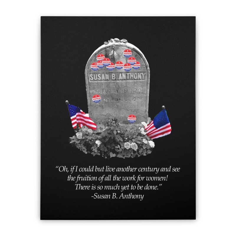 "Memorial to the 19th Amendment: Susan B. Anthony Headstone with ""I Voted"" Stickers Home Stretched Canvas by shaggylocks's Shop"