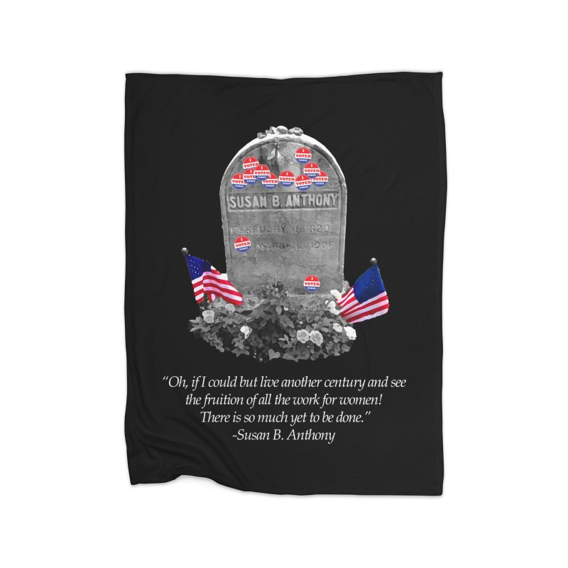 """Memorial to the 19th Amendment: Susan B. Anthony Headstone with """"I Voted"""" Stickers Home Blanket by shaggylocks's Shop"""