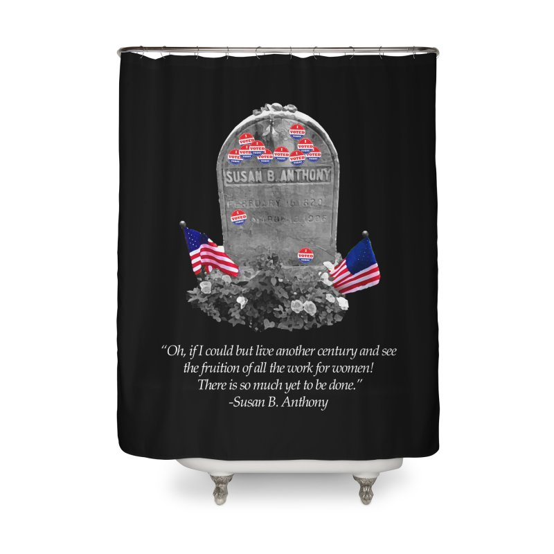 """Memorial to the 19th Amendment: Susan B. Anthony Headstone with """"I Voted"""" Stickers Home Shower Curtain by shaggylocks's Shop"""