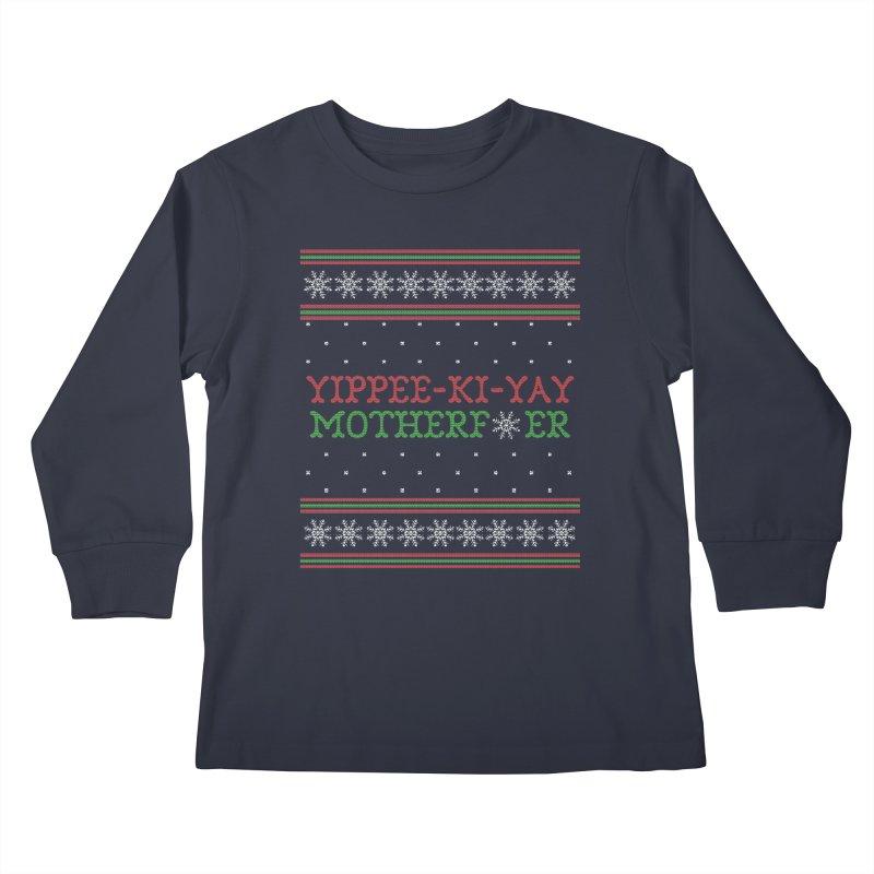 Yippee-Ki-Yay Motherf*er Ugly Christmas Sweater Kids Longsleeve T-Shirt by shaggylocks's Shop