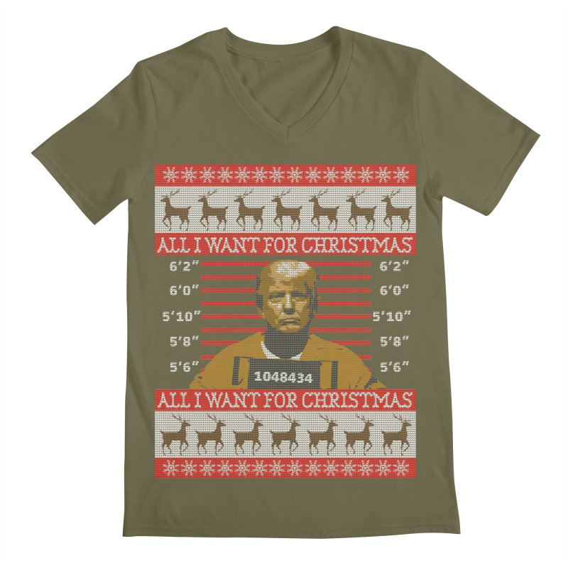 Trump in Prison Ugly Christmas Sweater Men's V-Neck by shaggylocks's Shop