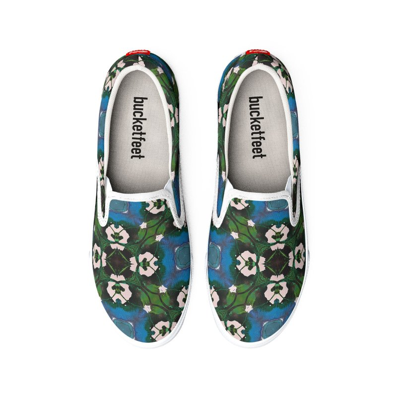 Blue Green Floral Men's Shoes by shandrasmith's Artist Shop