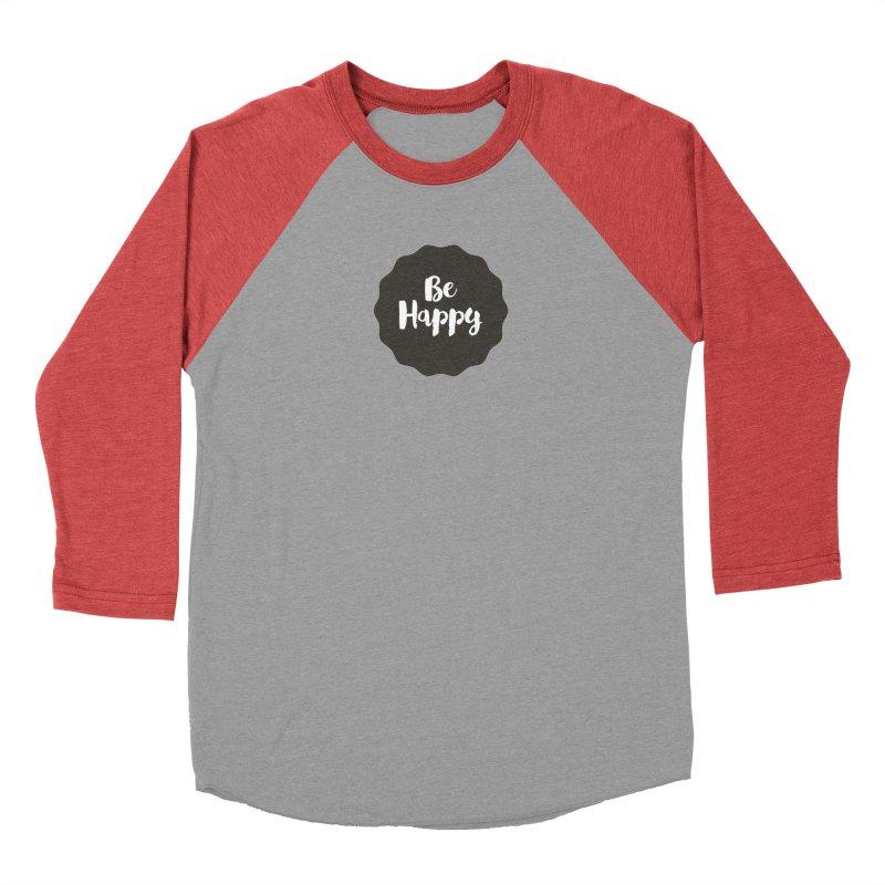Be Happy Men's Baseball Triblend Longsleeve T-Shirt by Shane Guymon