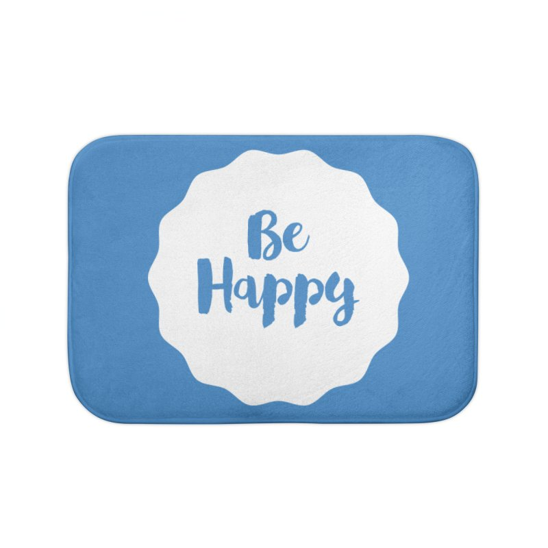 Be Happy (white) Home Bath Mat by Shane Guymon