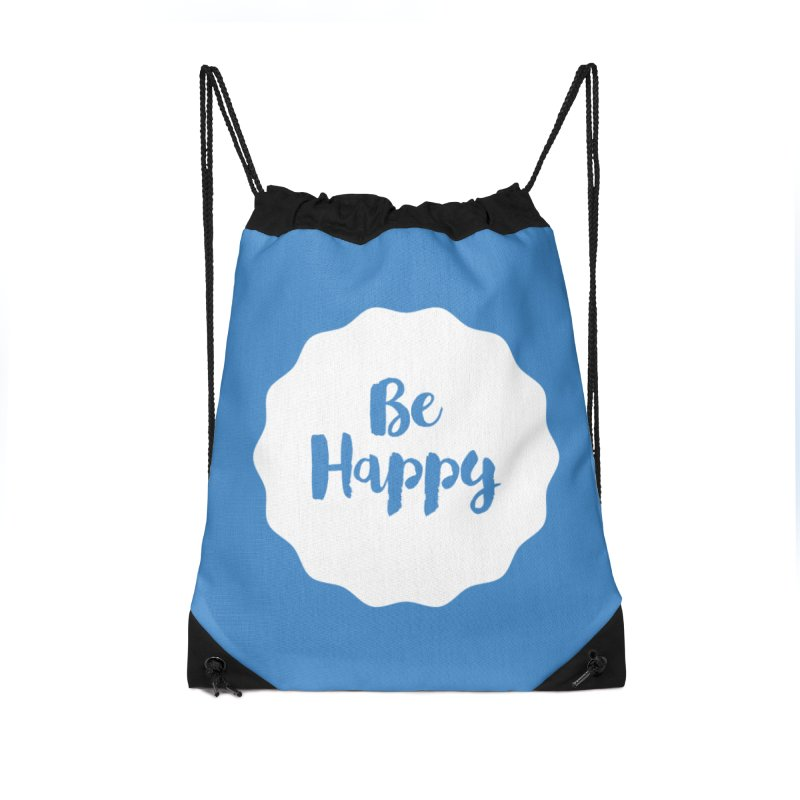 Be Happy (white) Accessories Drawstring Bag Bag by Shane Guymon