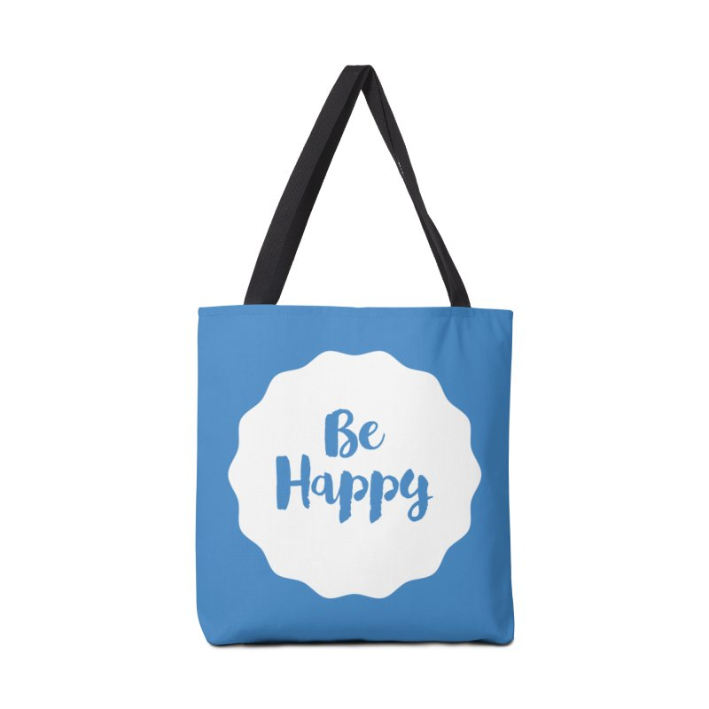 Be Happy (white) Accessories Bag by Shane Guymon