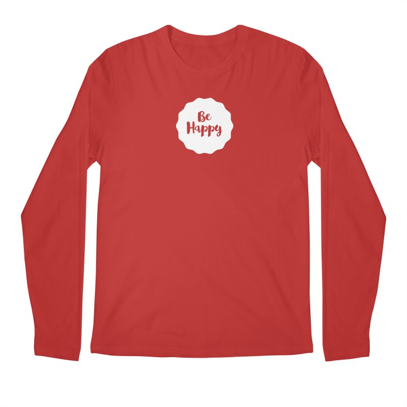 Be Happy (white) Men's Regular Longsleeve T-Shirt by Shane Guymon