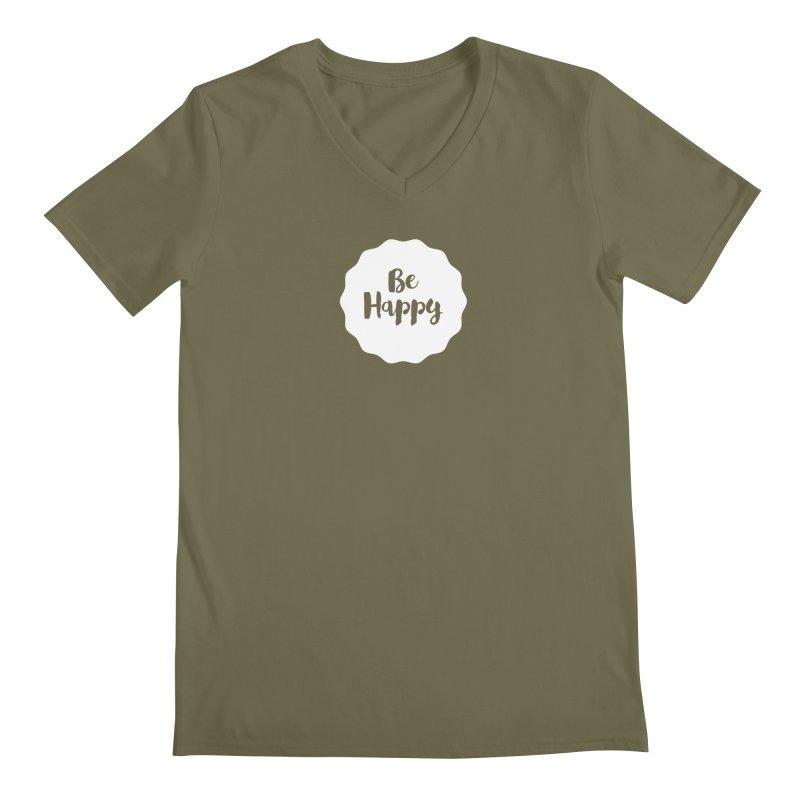 Be Happy (white) Men's V-Neck by Shane Guymon